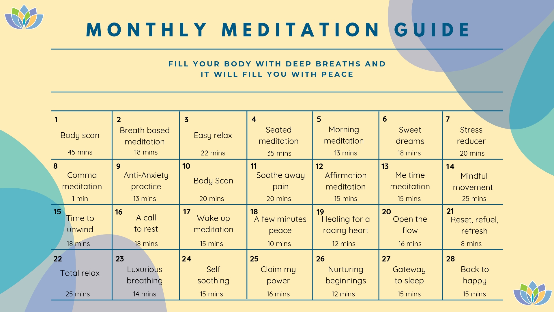 Monthly meditation guide