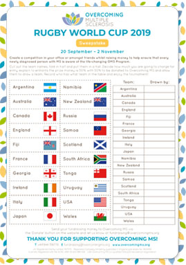 Overcoming MS Rugby World Cup Sweepstake